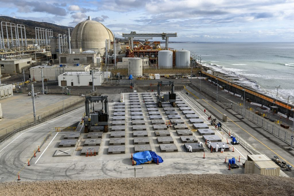 Photo showing how close the San Onofre Nuclear Waste Dump is to the water.